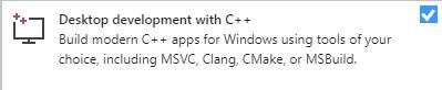 Development with C++ in Visual Studio 2019 installer