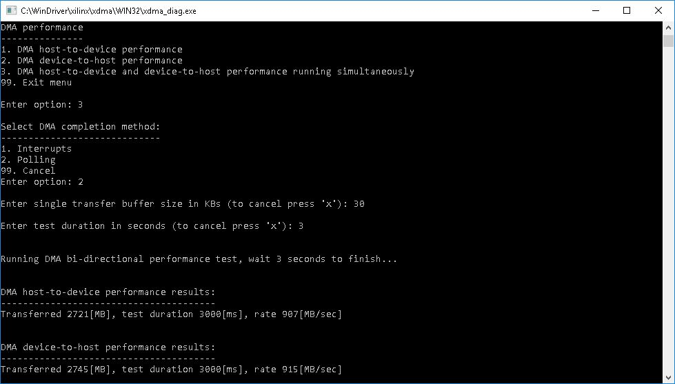 XDMA Performance test example